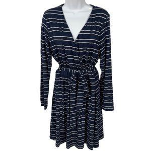 Vineyard Vines Size L Striped Faux Wrap Dress
